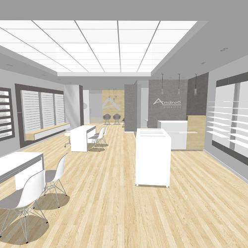 Contemporary optical store design - basic 3D rendering
