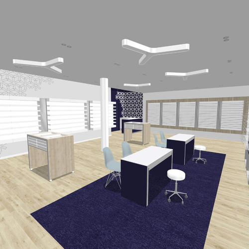Chic with a twist optical store design - basic 3D rendering