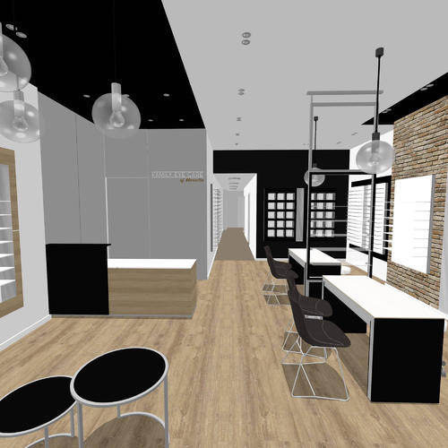 Industrial optical store design - basic 3D rendering