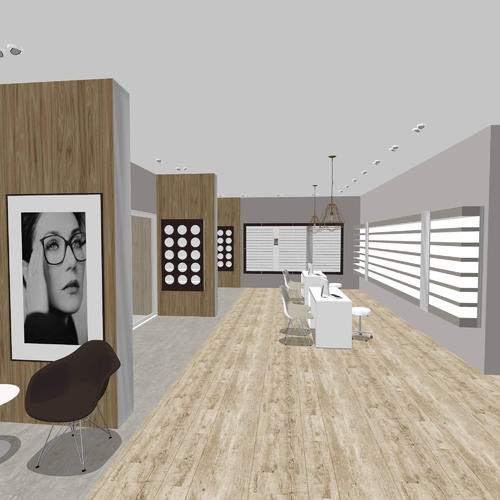 Traditional optical store design - basic 3D rendering