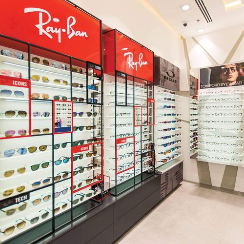 Ray Ban custom made wall shelves for an optical shop in Dubai.