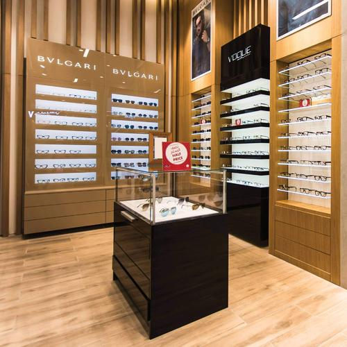 Luxurious wall display cabinets and shelves for a chain of optical shops in Dubai.